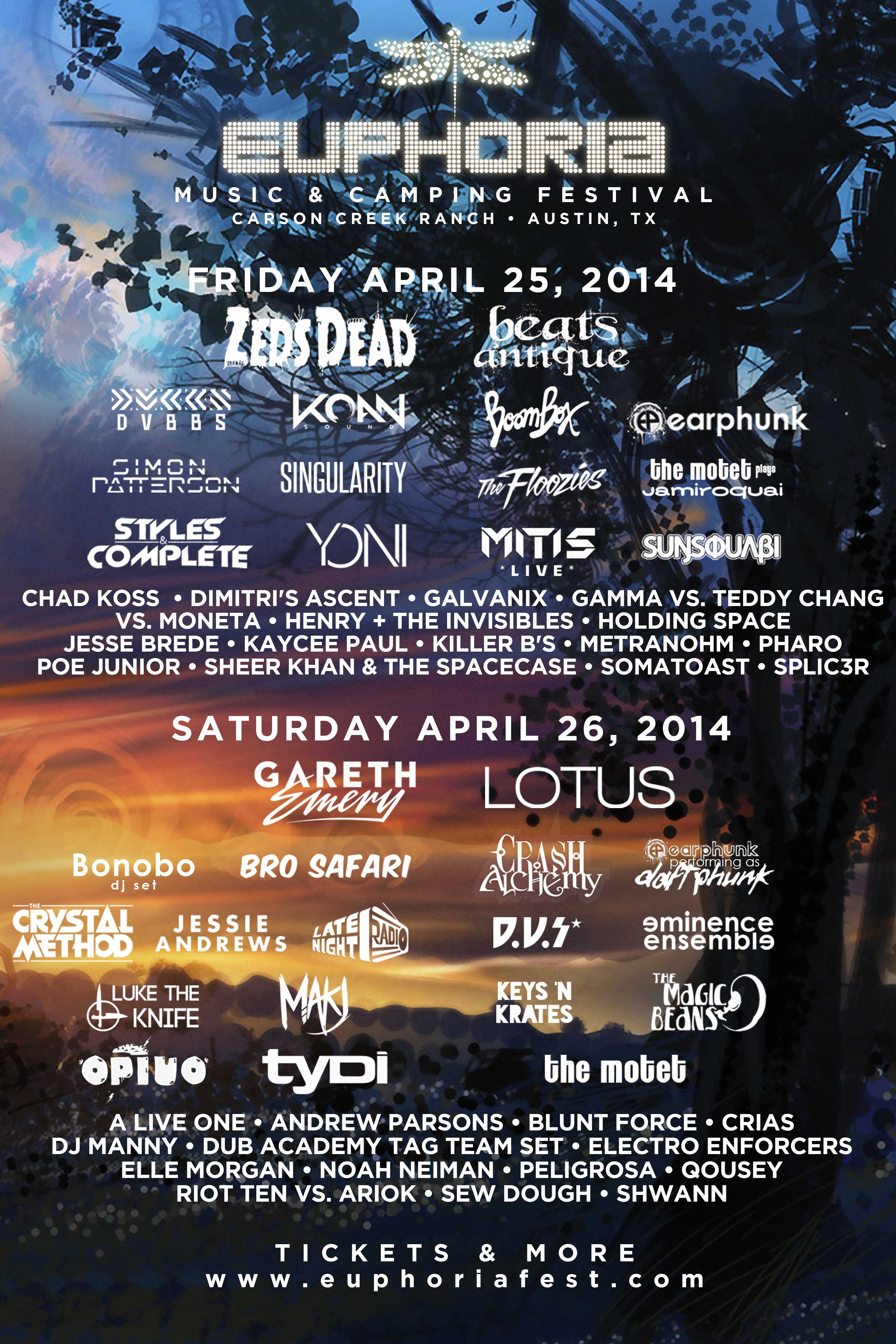 euphria music festival EMCF14-Lineup-by-Day
