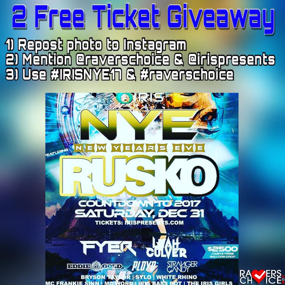 Iris Presents: NYE 2017 with Rusko + Free Ticket Giveaway and Meet & Greet 2