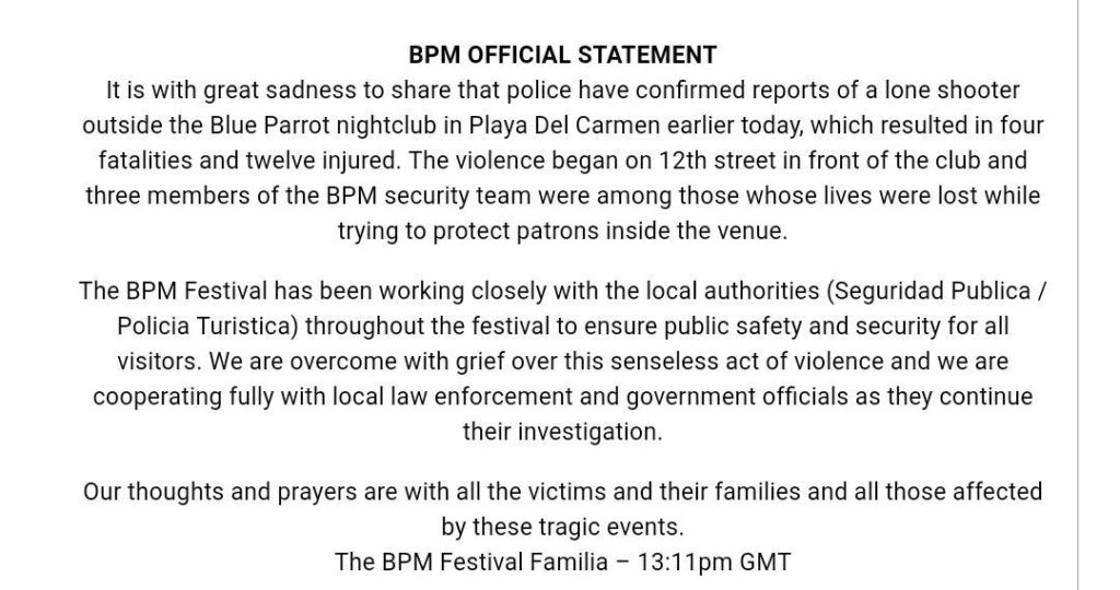Eye Witness Account From BPM Festival Shooting in Mexico 1