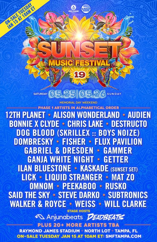 Sunset Music Festival Drops Massive Phase 1 Lineup for 2019 1
